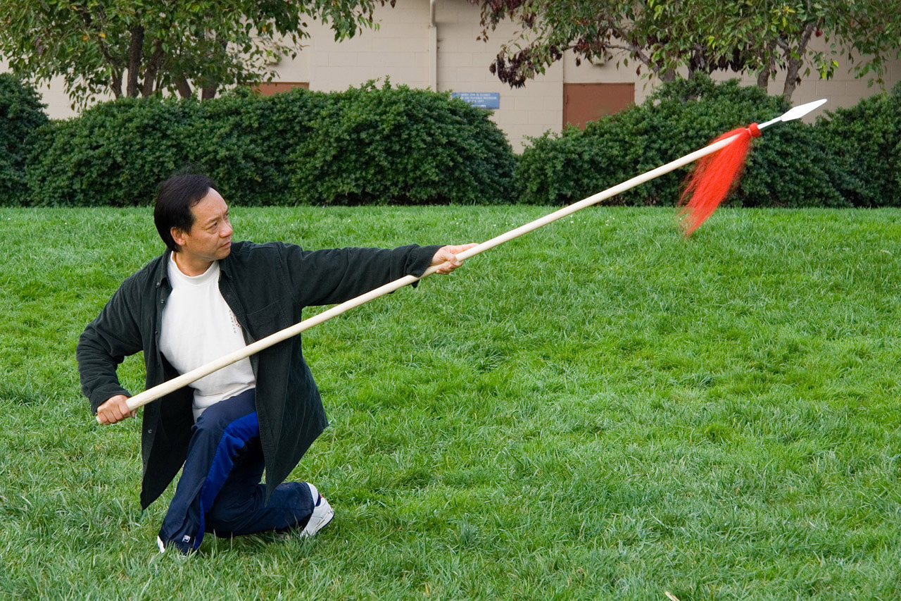 Master Wong Wai Yi demonstrating taiji spear
